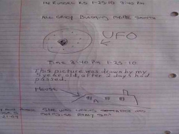 Κοριτσάκι ζωγραφίζει UFO που είδε στον ουρανό!