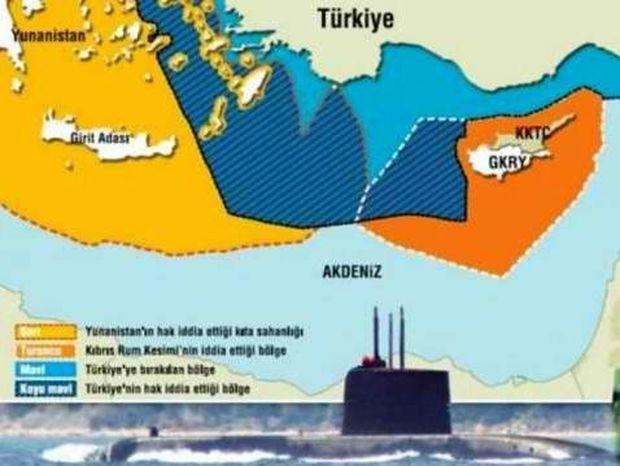 Τουρκικός χάρτης με υφαλοκρηπίδα μέχρι την Κρήτη