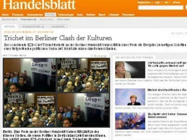 Ηandelsblatt: Έλληνες φοιτητές αποδοκίμασαν τον Τρισέ στο Βερολίνο (pics)