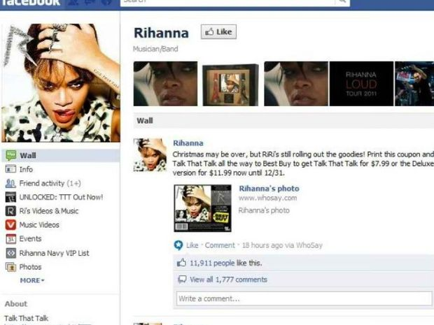 Facebook: Η Rihanna πιο δημοφιλής τραγουδίστρια για το 2011