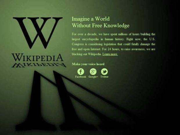 «Απεργία» στο internet: Κλειστή η Wikipedia, «μαύρισε» το Google