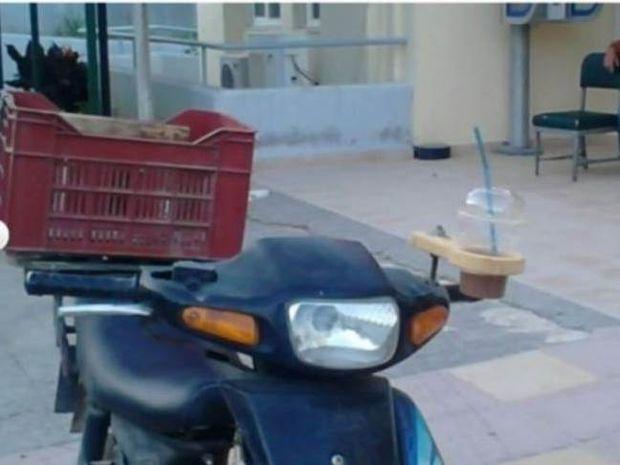 Απίστευτη πατέντα στην Κρήτη: Μηχανάκι με... φραπεδιέρα!