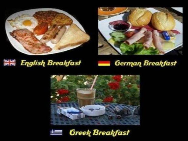 Απίστευτη φώτο: Το πρωινό ενός Έλληνα, ενός Άγγλου και ενός Γερμανού