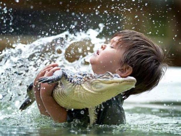 """3χρονος """"Ηρακλής"""" παίζει με έναν αλιγάτορα!"""