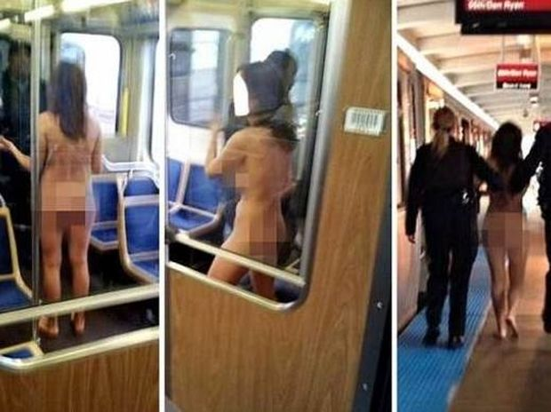 Η στιγμή που μια γυναίκα εισέβαλε... γυμνή στο τρένο! (pics)