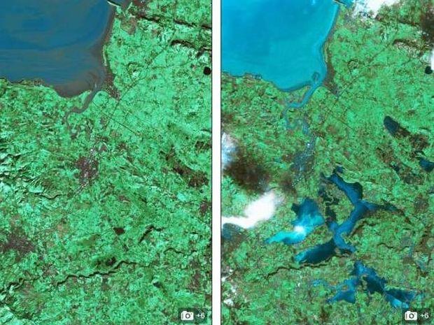 Η Βρετανία πριν και μετά τις πλημμύρες (Φωτό από δορυφόρο)