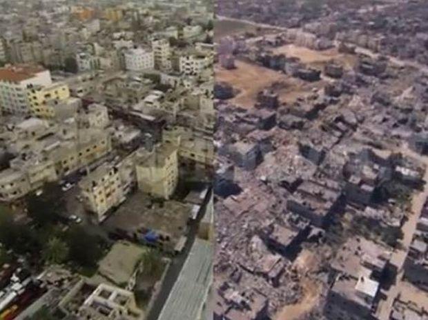 Συγκλονιστικό βίντεο: Η Γάζα πριν και μετά τους βομβαρδισμούς του Ισραήλ