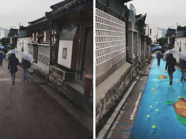 Δείτε τα πανέμορφα έργα τέχνης που αποκαλύπτονται όταν βρέχει στους δρόμους της Σεούλ! (photos)