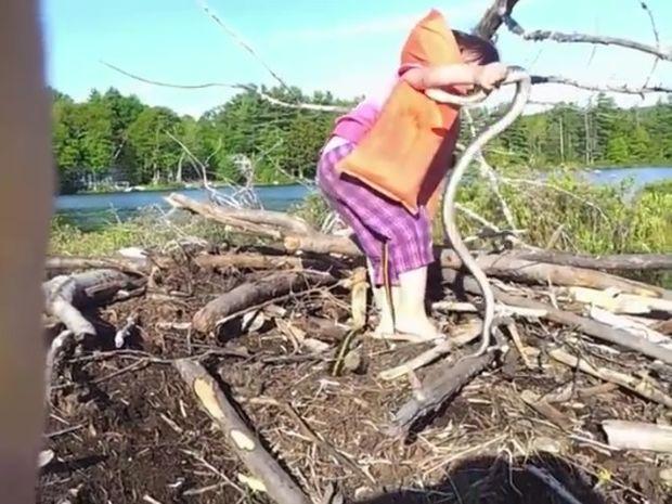 Η μικρούλα είδε ένα φίδι στην άκρη του ποταμού! Η αντίδραση της είναι απίστευτη! (video)