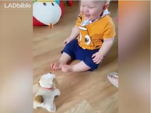 Απίθανο! Ο μπεμπάκος λατρεύει το καινούργιο του παιχνίδι! (video)