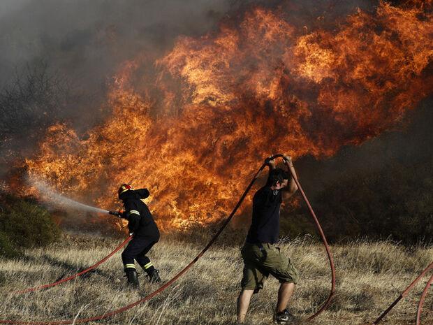 Φωτιά ΤΩΡΑ στα Μέγαρα - Οι φλόγες απειλούν σπίτια
