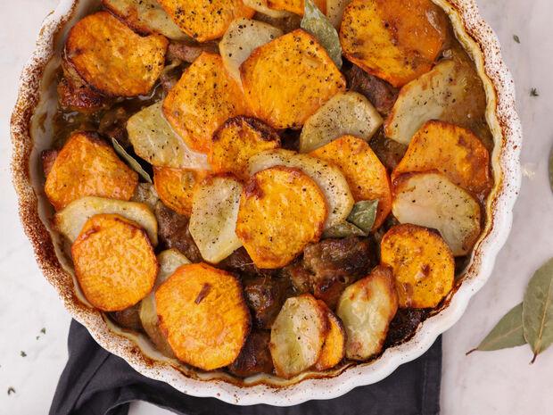 Χοιρινό με γλυκοπατάτες στο φούρνο από τον Γιώργο Τσούλη