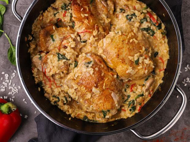 Κοτόπουλο με ρύζι και σπανάκι από τον Γιώργο Τσούλη