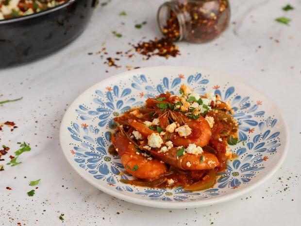 Γαρίδες σαγανάκι από τον Γιώργο Τσούλη