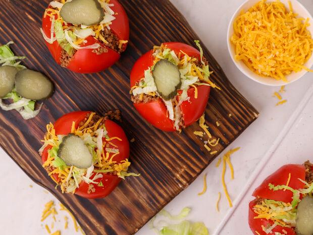 Συνταγή για Cheeseburger ντομάτες από τον Γιώργο Τσούλη