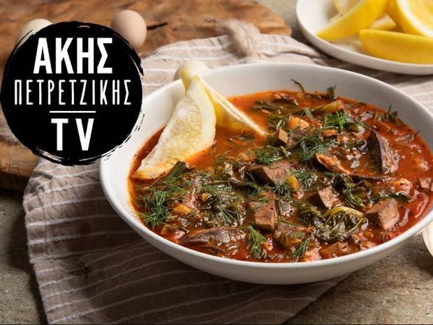 Συνταγή για μαγειρίτσα κοκκινιστή από τον Άκη Πετρετζίκη