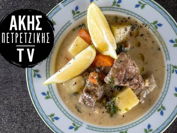 Συνταγή για κρεατόσουπα αβγολέμονο από τον Άκη Πετρετζίκη